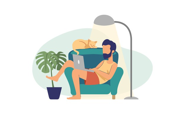 lazy man illustration working with laptop
